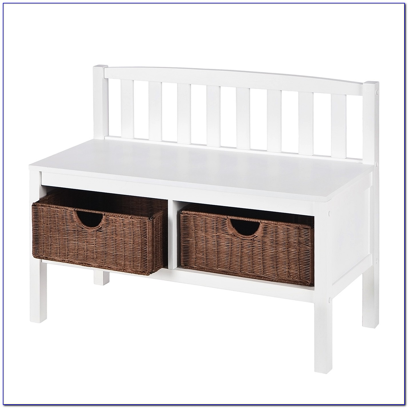 White Entryway Bench With Baskets