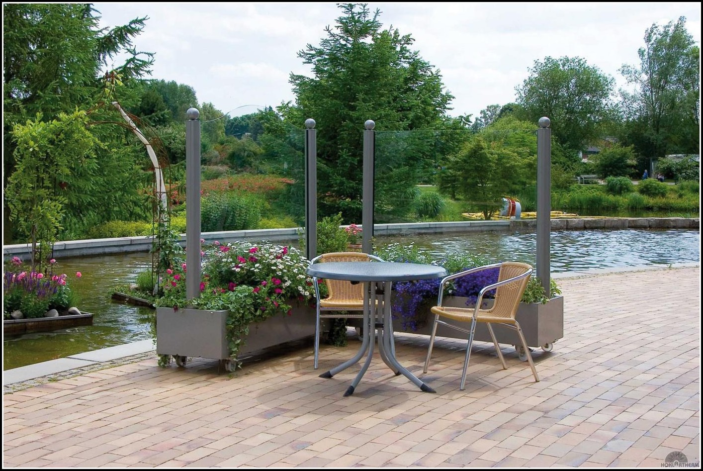 Windschutz Terrasse Glas Holz