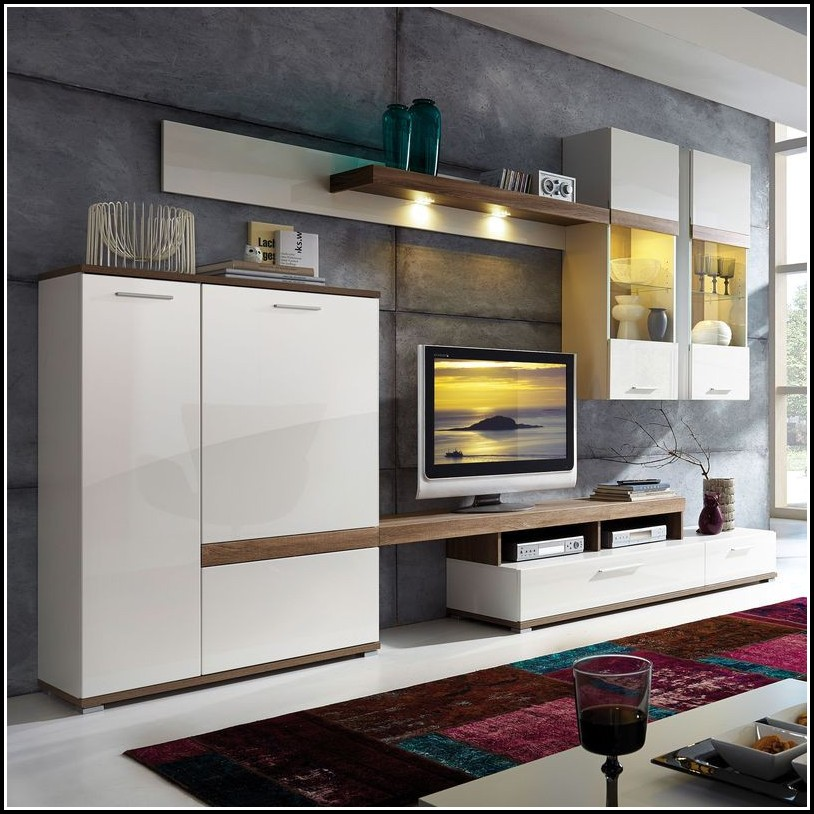 Wohnzimmer Wohnwand Weiß