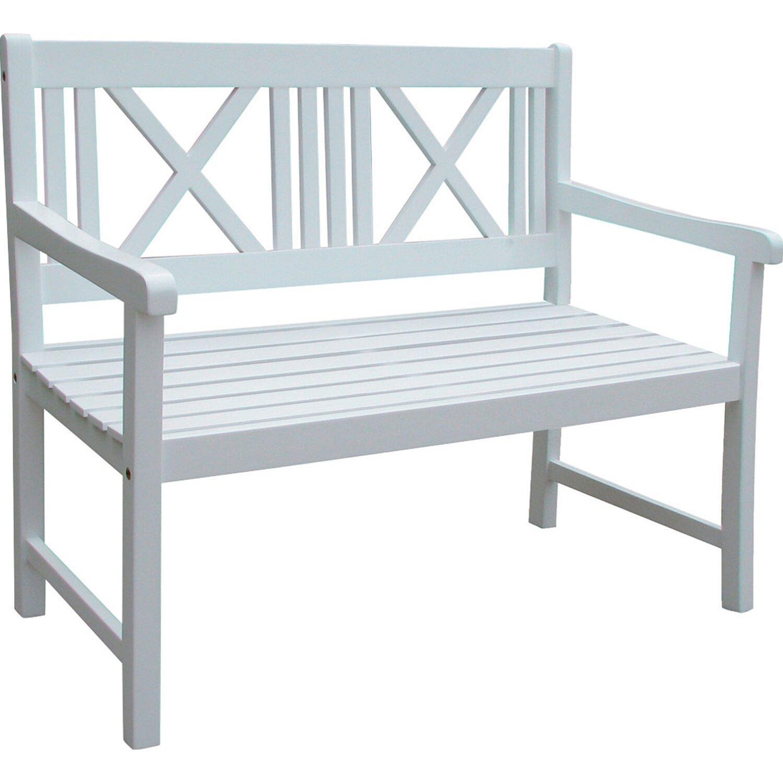 2er Gartenbank Holz Weiß