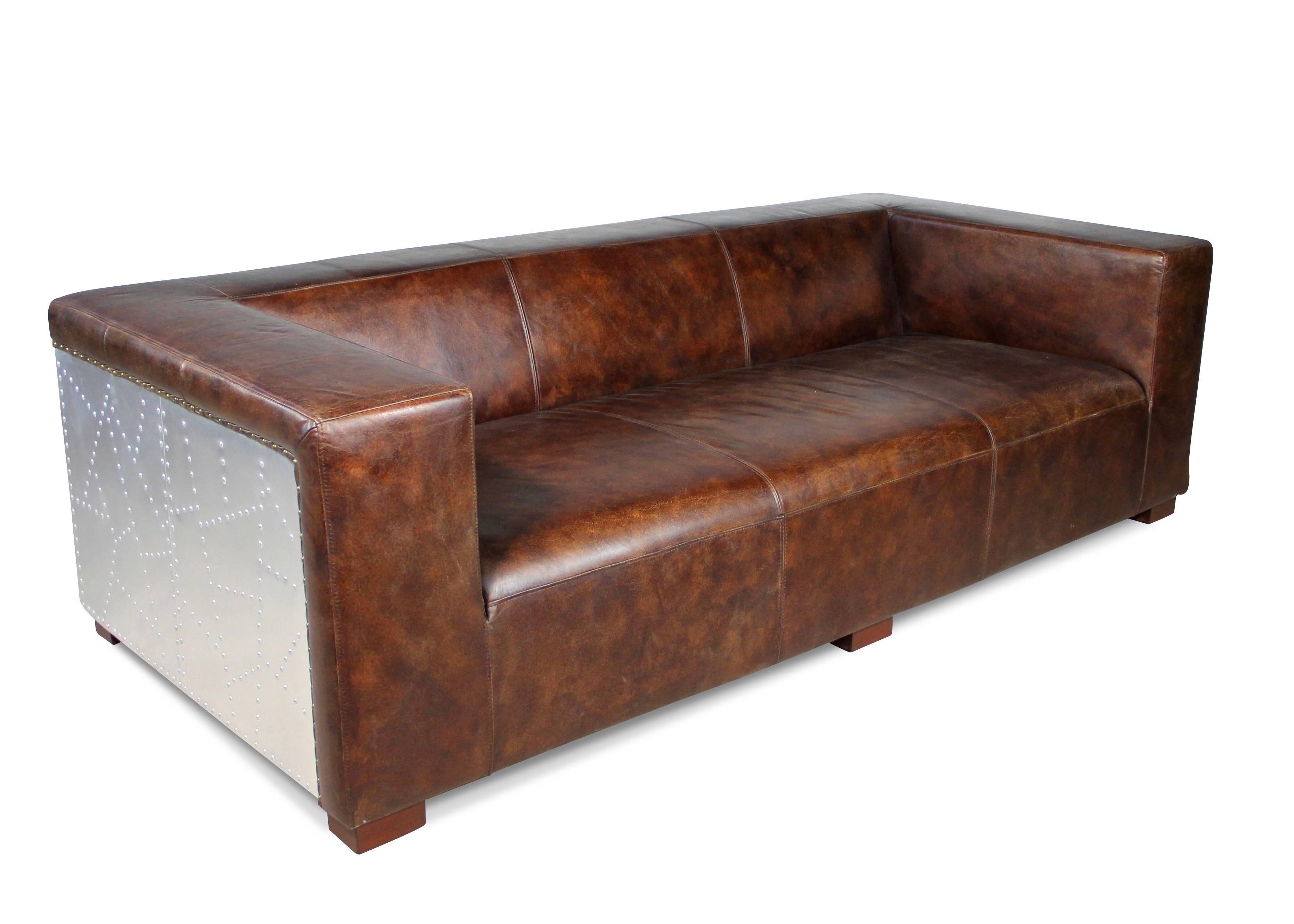 3 Sitzer Sofa Leder Braun