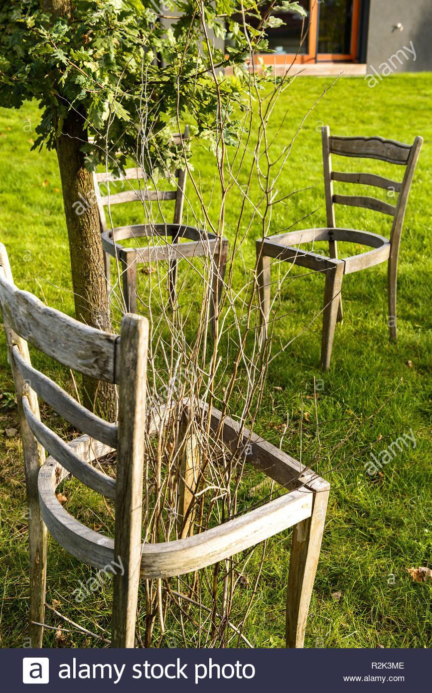Alte Stühle Im Garten Dekorieren