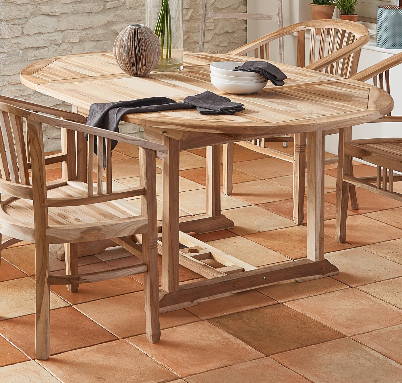 Ausziehbarer Gartentisch Holz