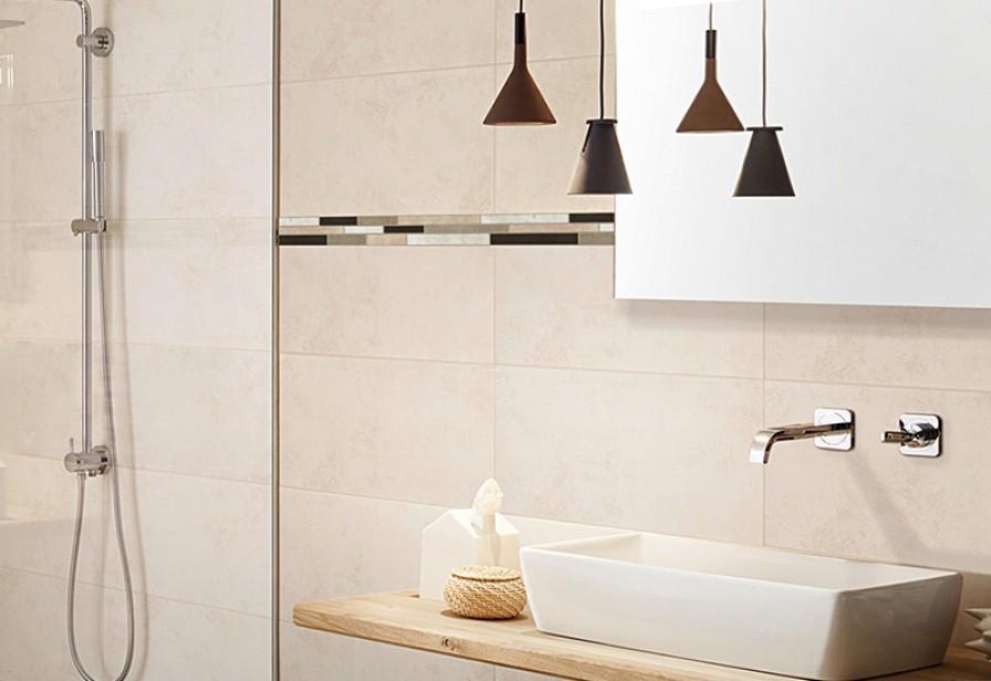 Badezimmer Fliesen Grau Beige