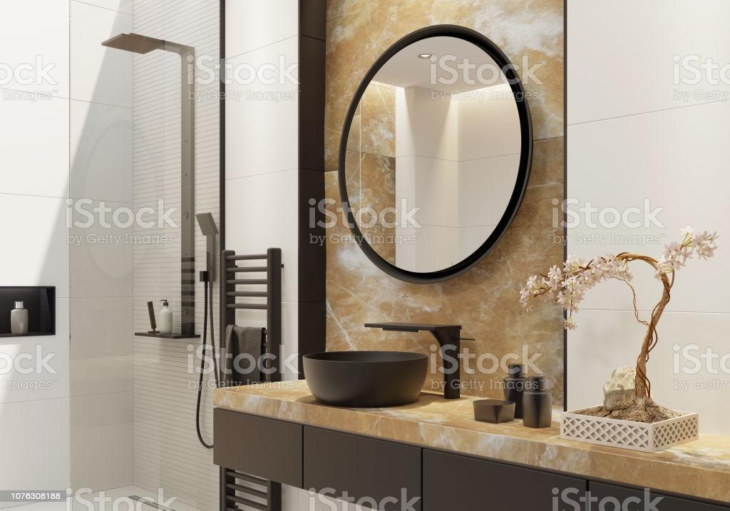 Badezimmer Gold Schwarz