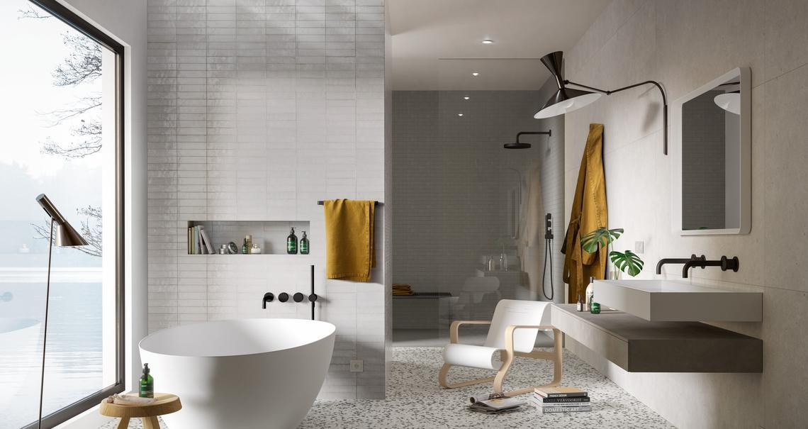 Badezimmer Grau Weiß Gefliest