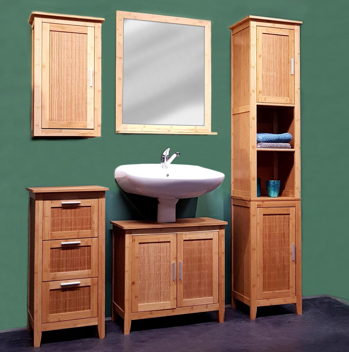 Badezimmer Hängeschrank Bambus