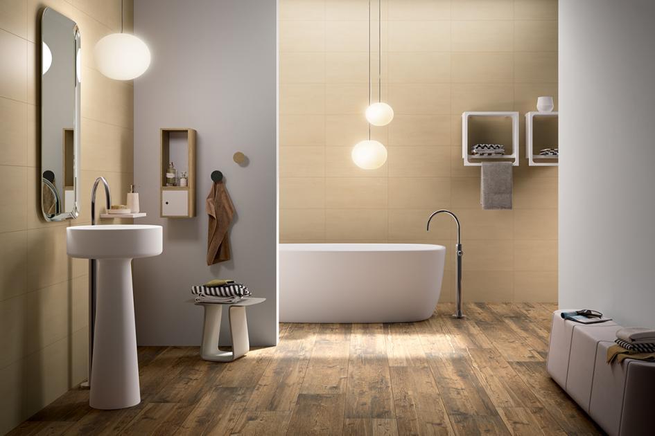 Badezimmer Holzfliesen Wand