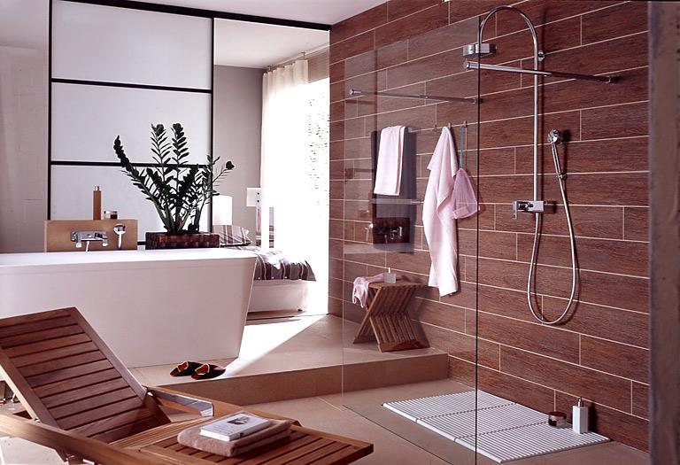 Badezimmer Modern Holzoptik