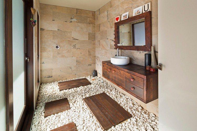 Badezimmer Naturstein Holz
