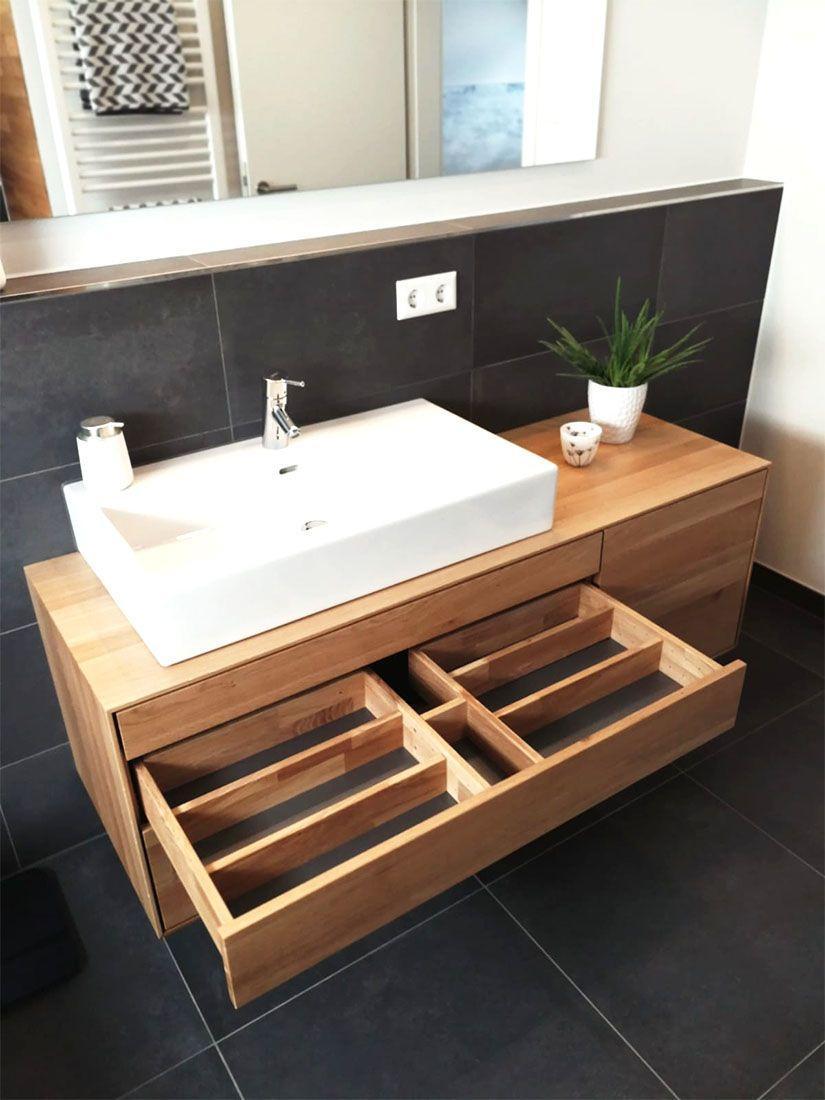 Badezimmer Waschtisch Holzplatte
