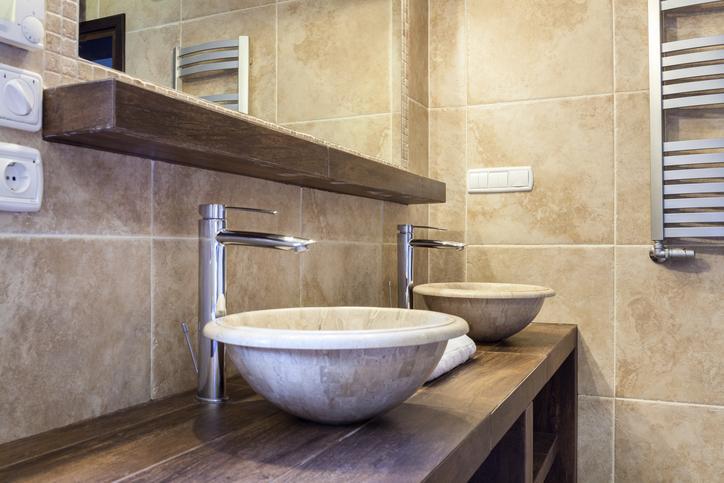 Badezimmer Waschtischplatte Holz
