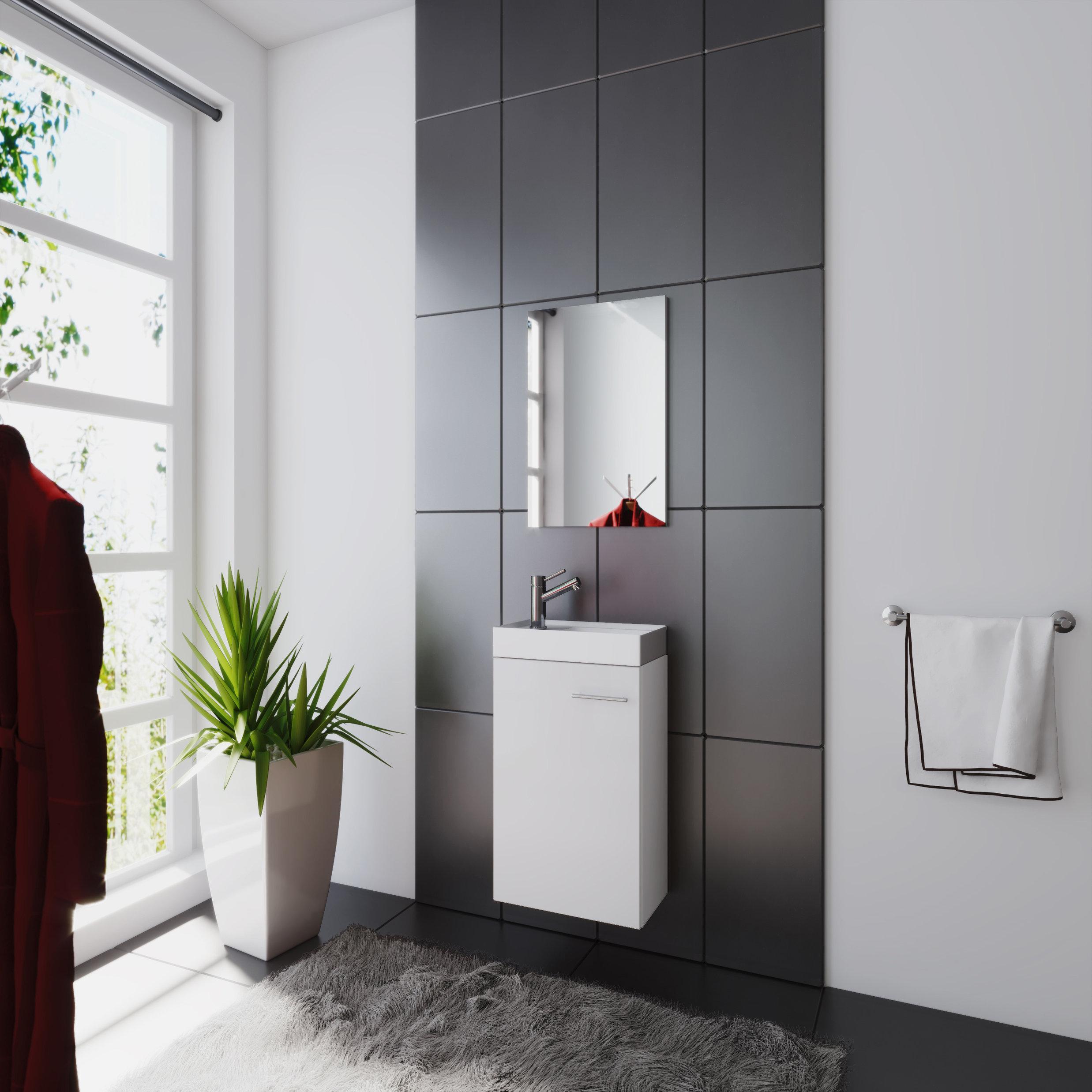 Badezimmerschrank Mit Waschbecken Und Spiegel