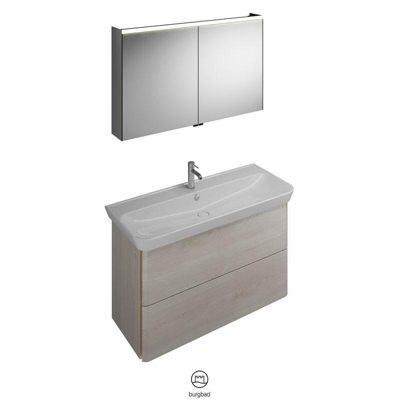 Badmöbel Set 120cm Waschtisch Waschtischunterschrank Spiegelschrank