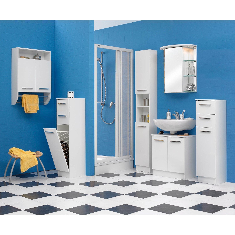 Badschrank Mit Wäschekippe Weiß