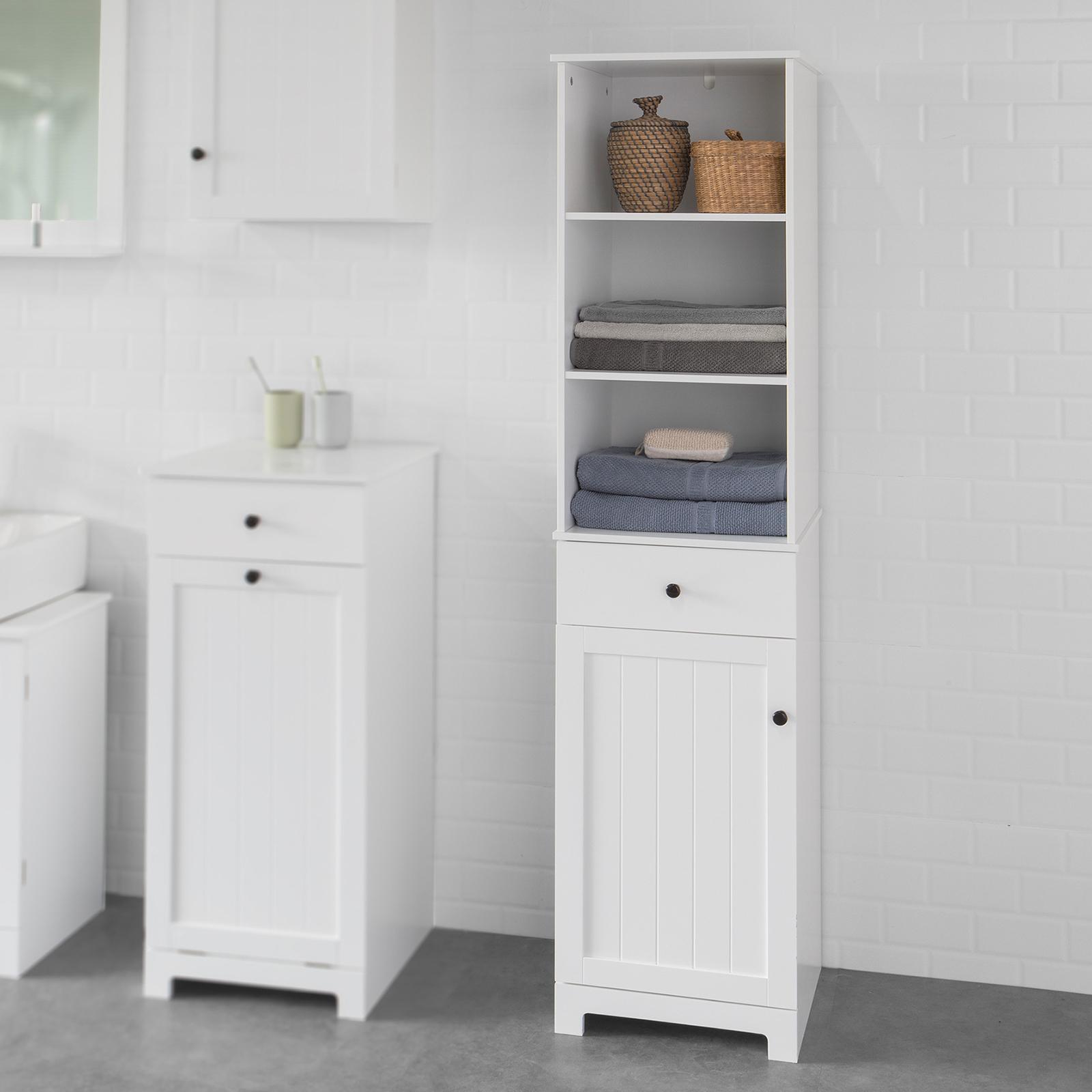 Badschrank Mit Wäschekorb In Weiß Hochglanz Lackiert