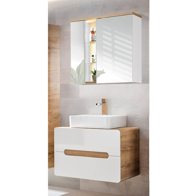 Badschrank Weiß Eiche