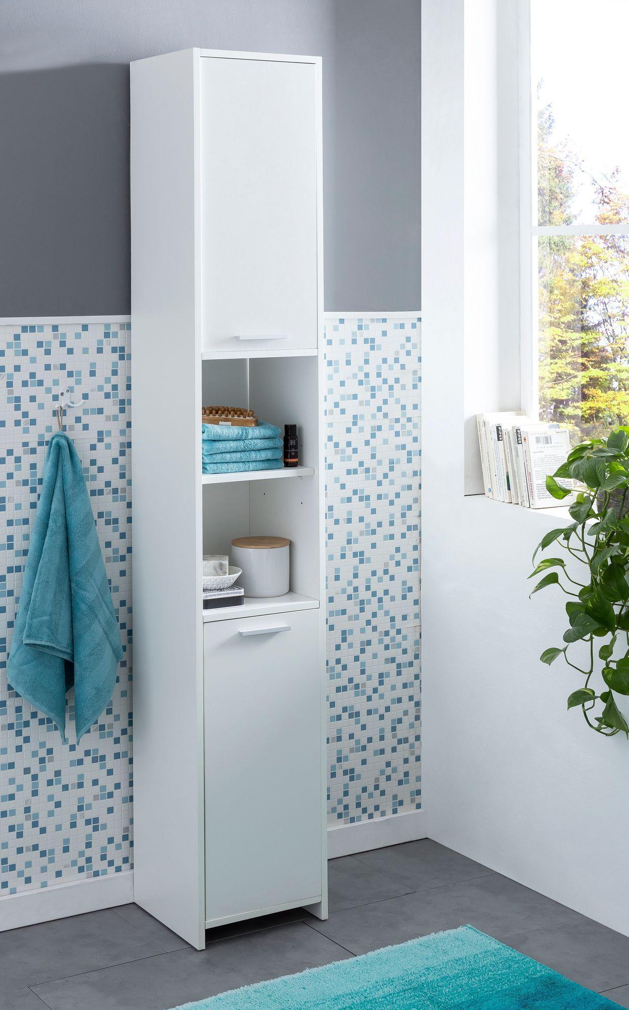 Badschrank Weiß Hoch