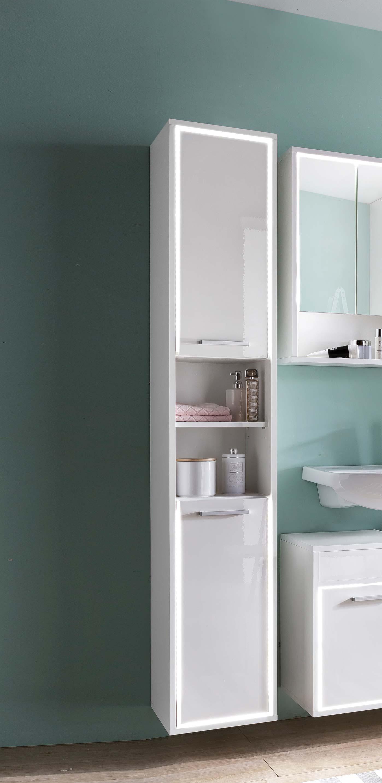 Badschrank Weiß Hochglanz