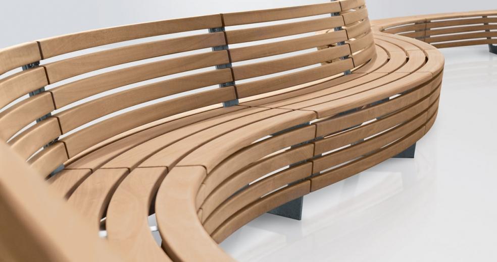 Baumbank Holz Halbrund