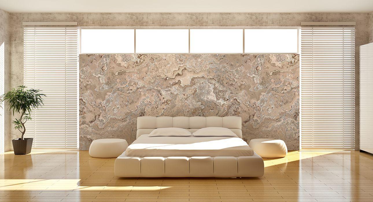 Beige Steintapete Wohnzimmer