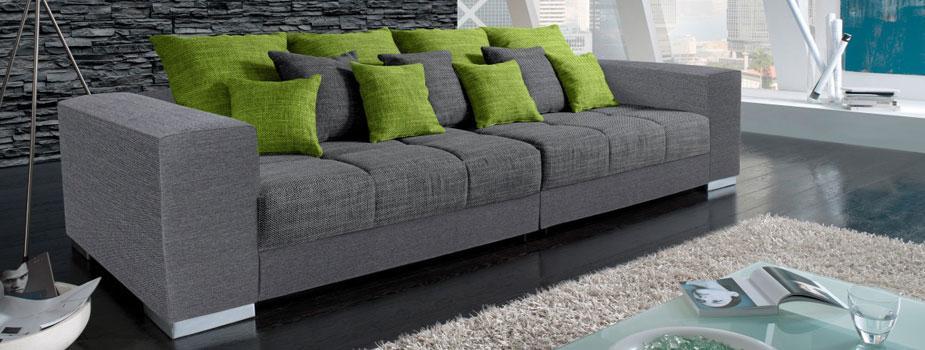 Big Sofa Grau Schwarz