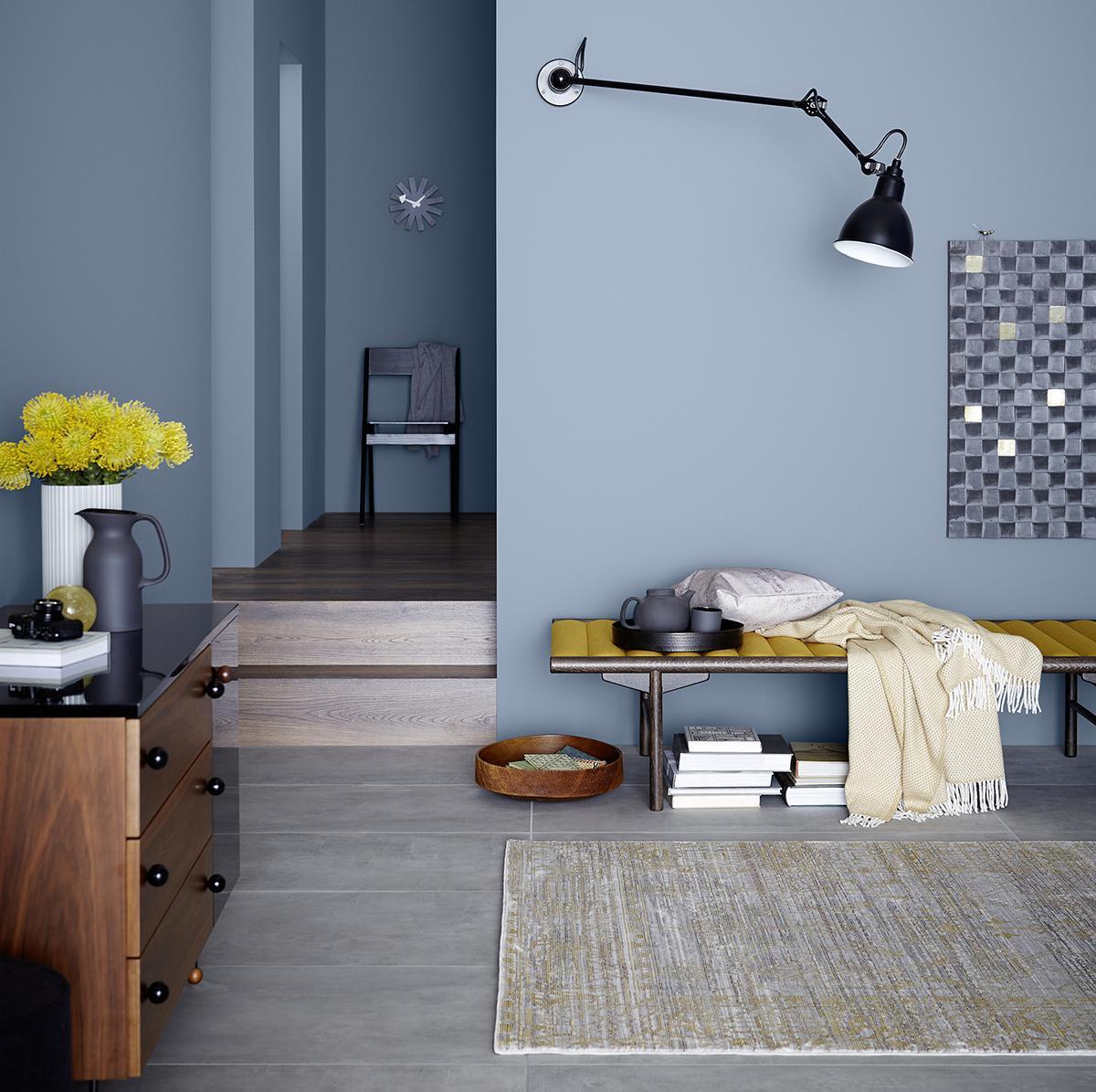 Blau Grau Wandfarbe Wohnzimmer
