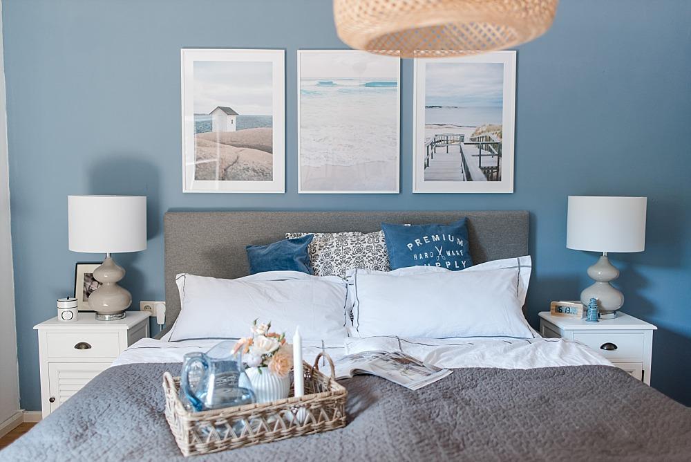 Blau Graue Wand Schlafzimmer