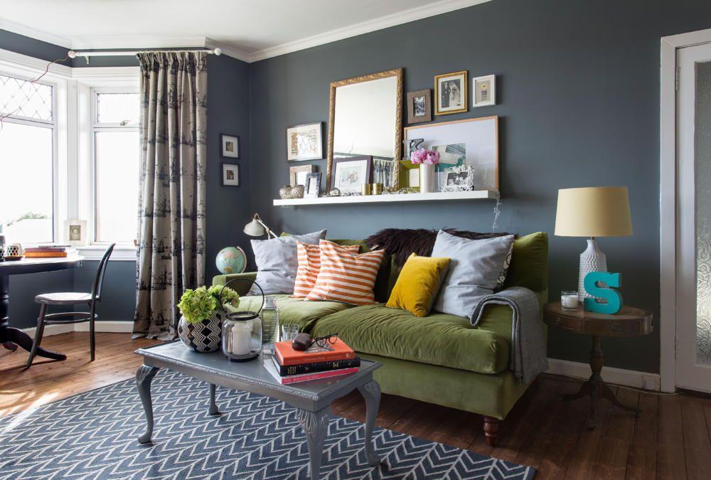 Blau Graues Wohnzimmer