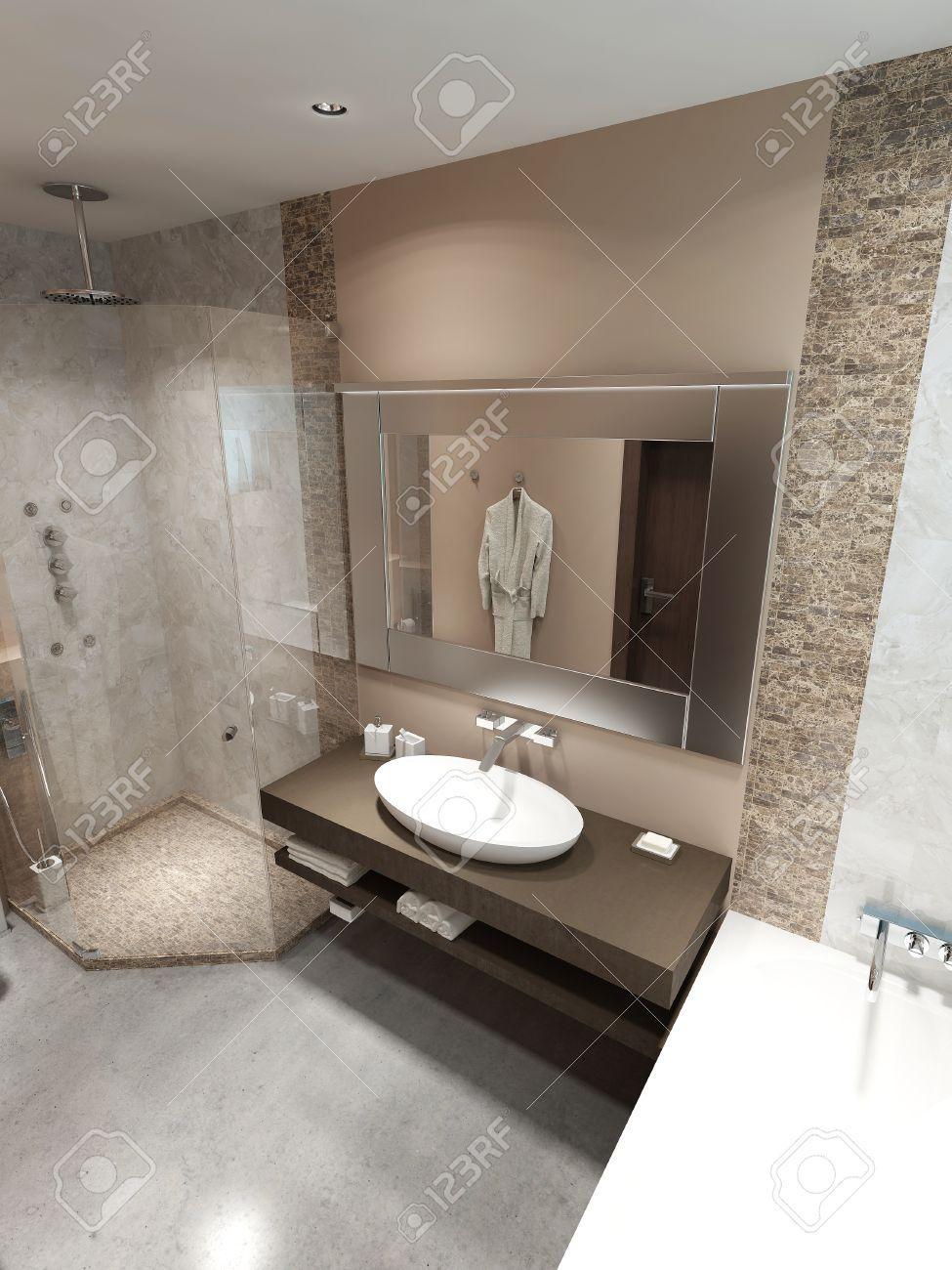 Braun Weißes Badezimmer