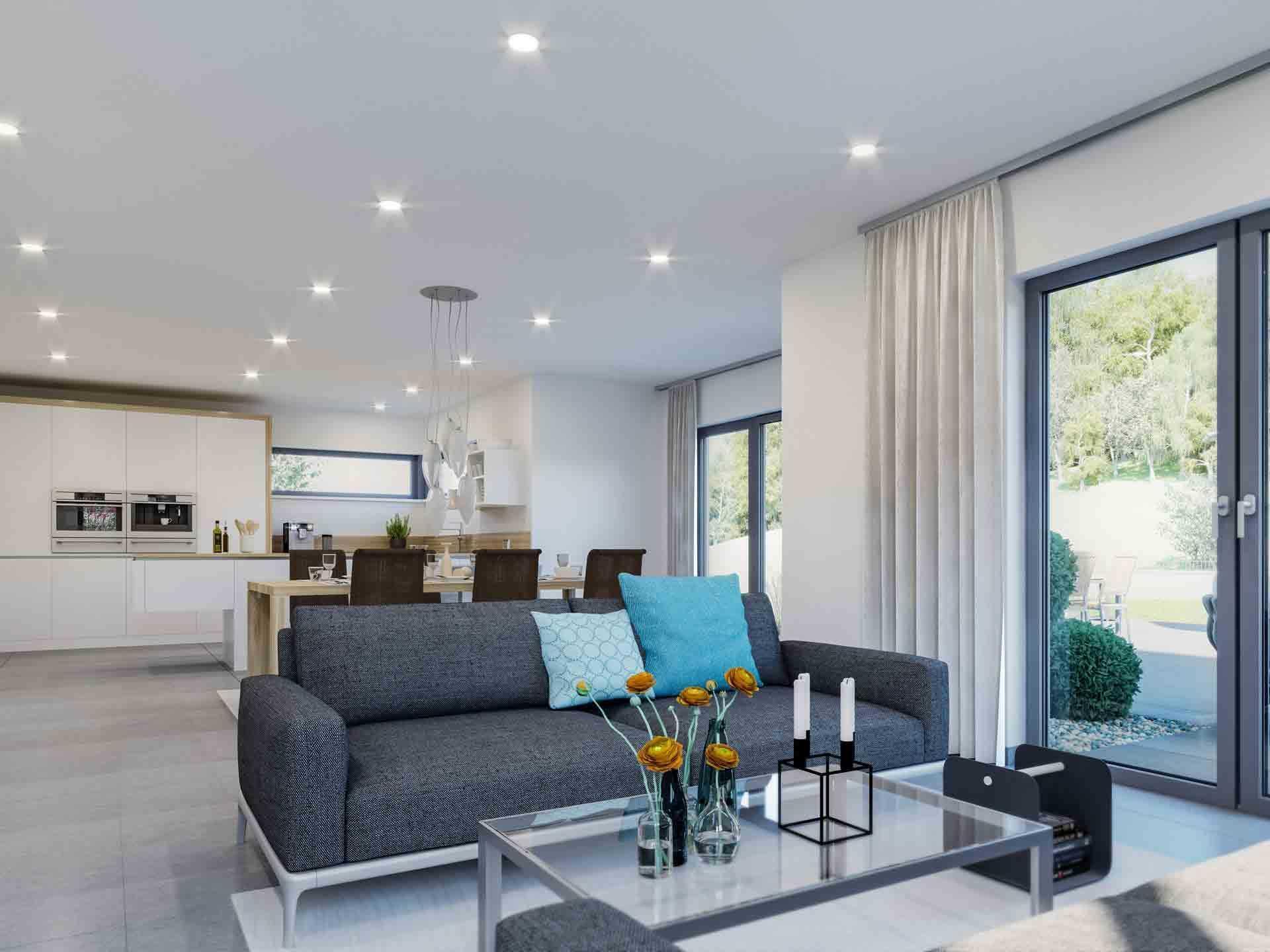 Bungalow Offene Wohnküche Mit Wohnzimmer Grundriss