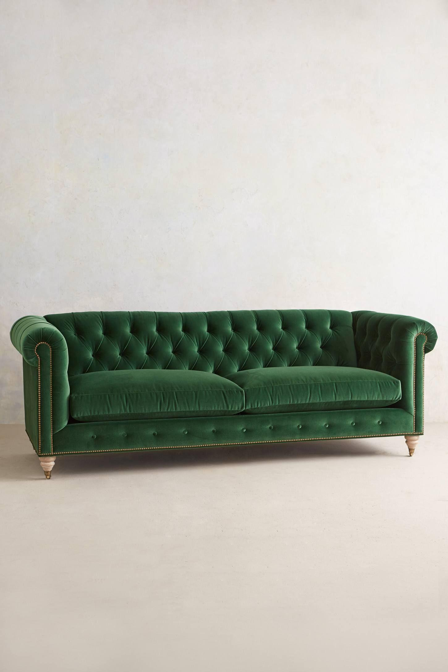 Chesterfield Sofa Grün Leder