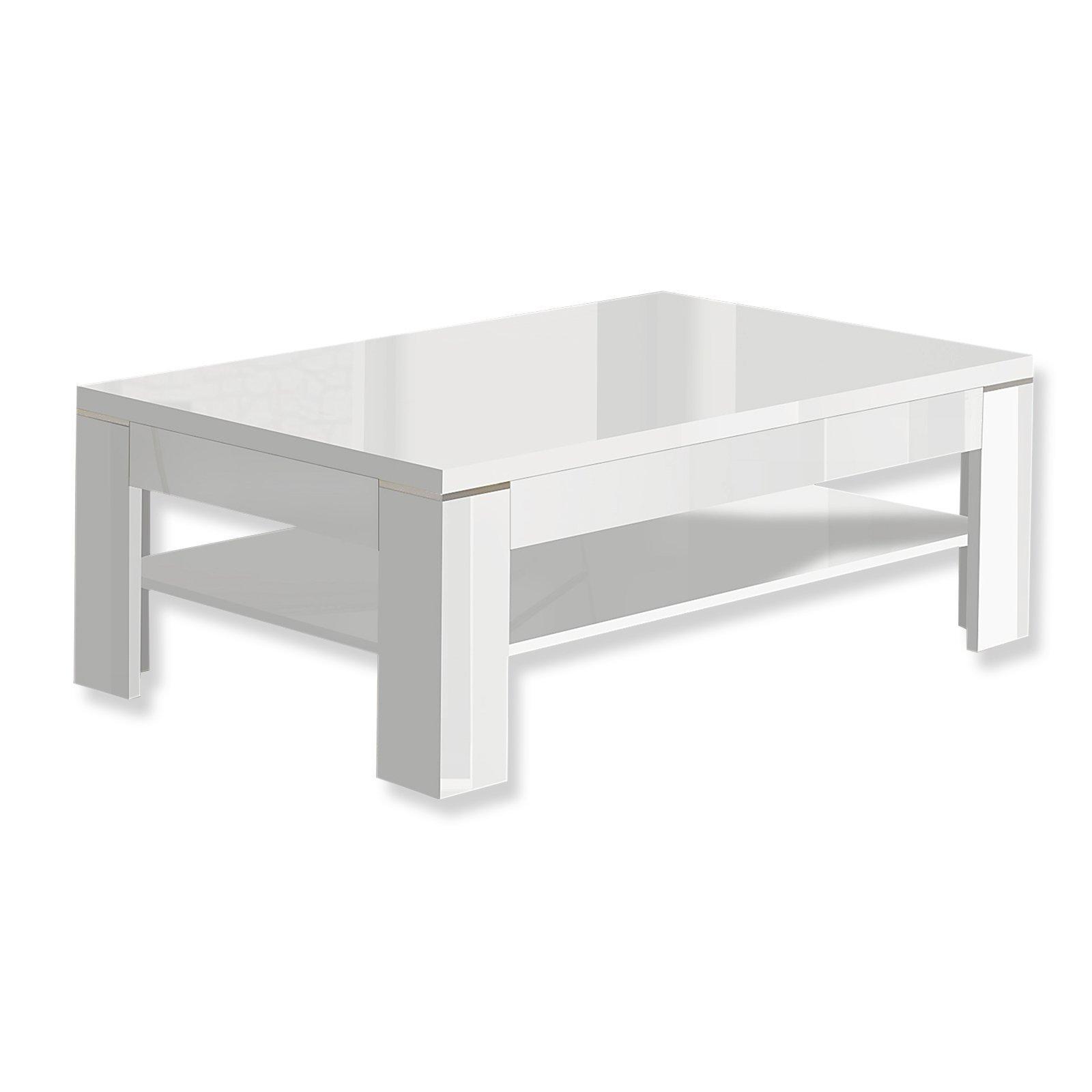 Couchtisch 80×80 Weiß Hochglanz