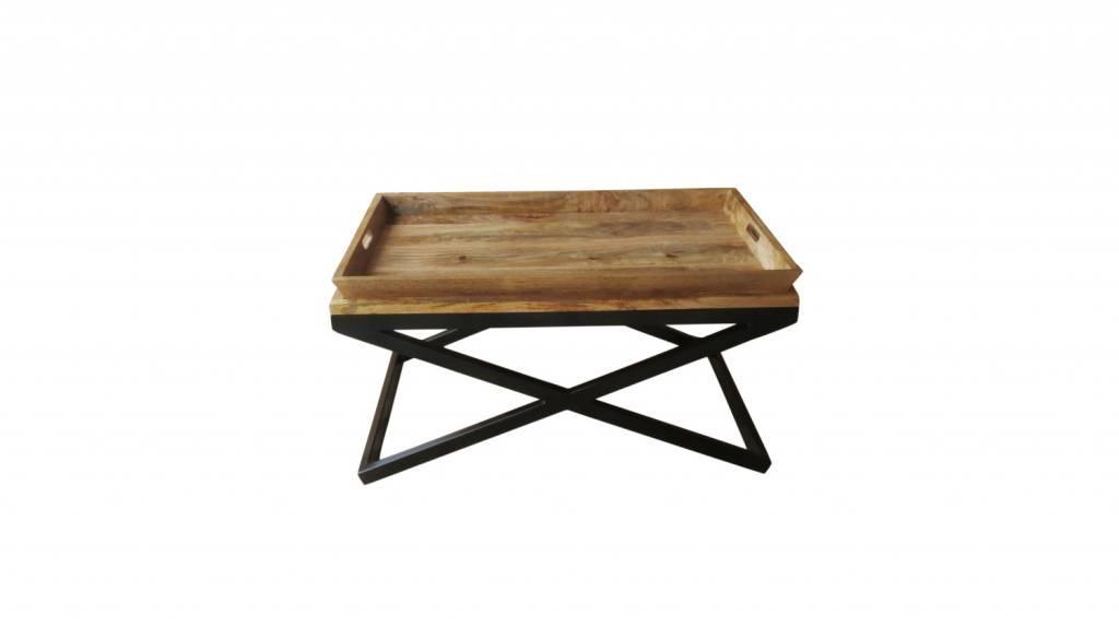 Design Couchtisch Holz Metall
