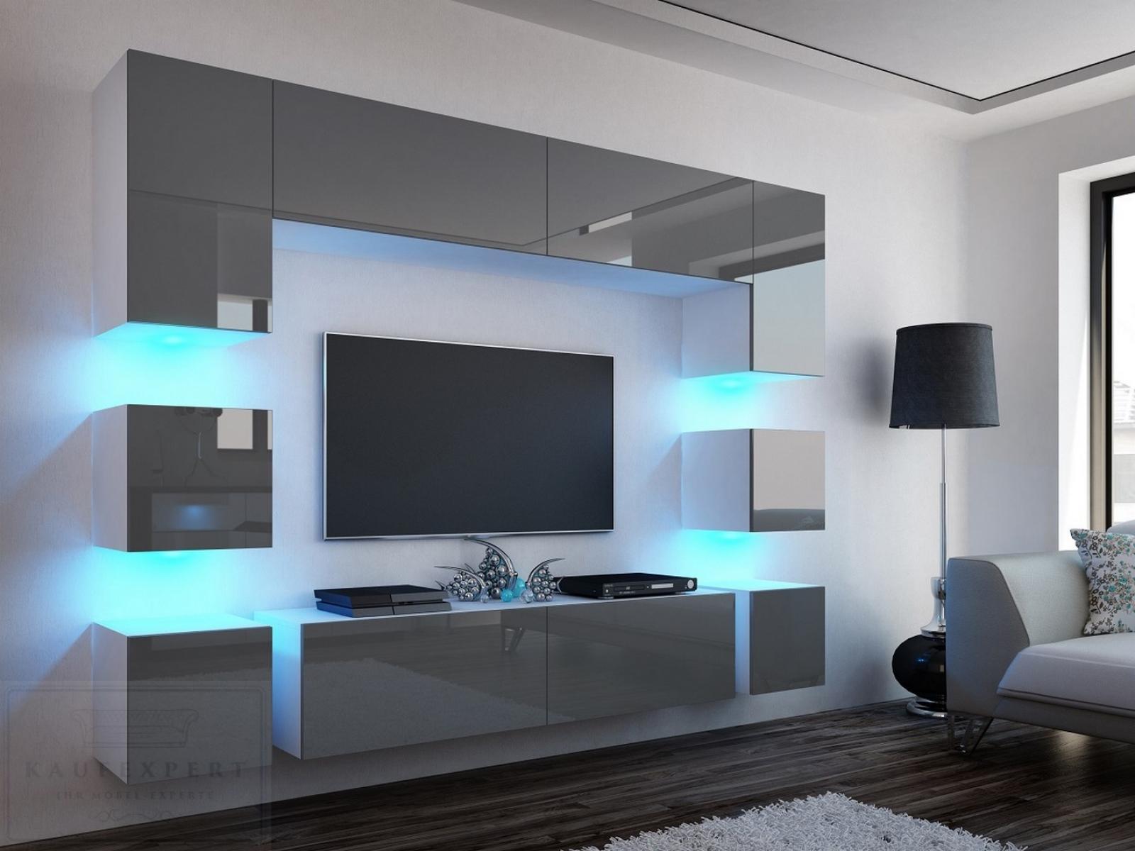 Design Wohnwand Grau