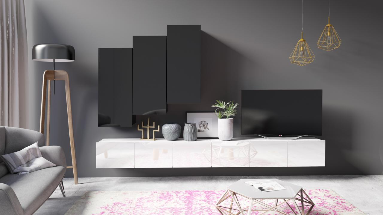 Designer Wohnwand Hochglanz