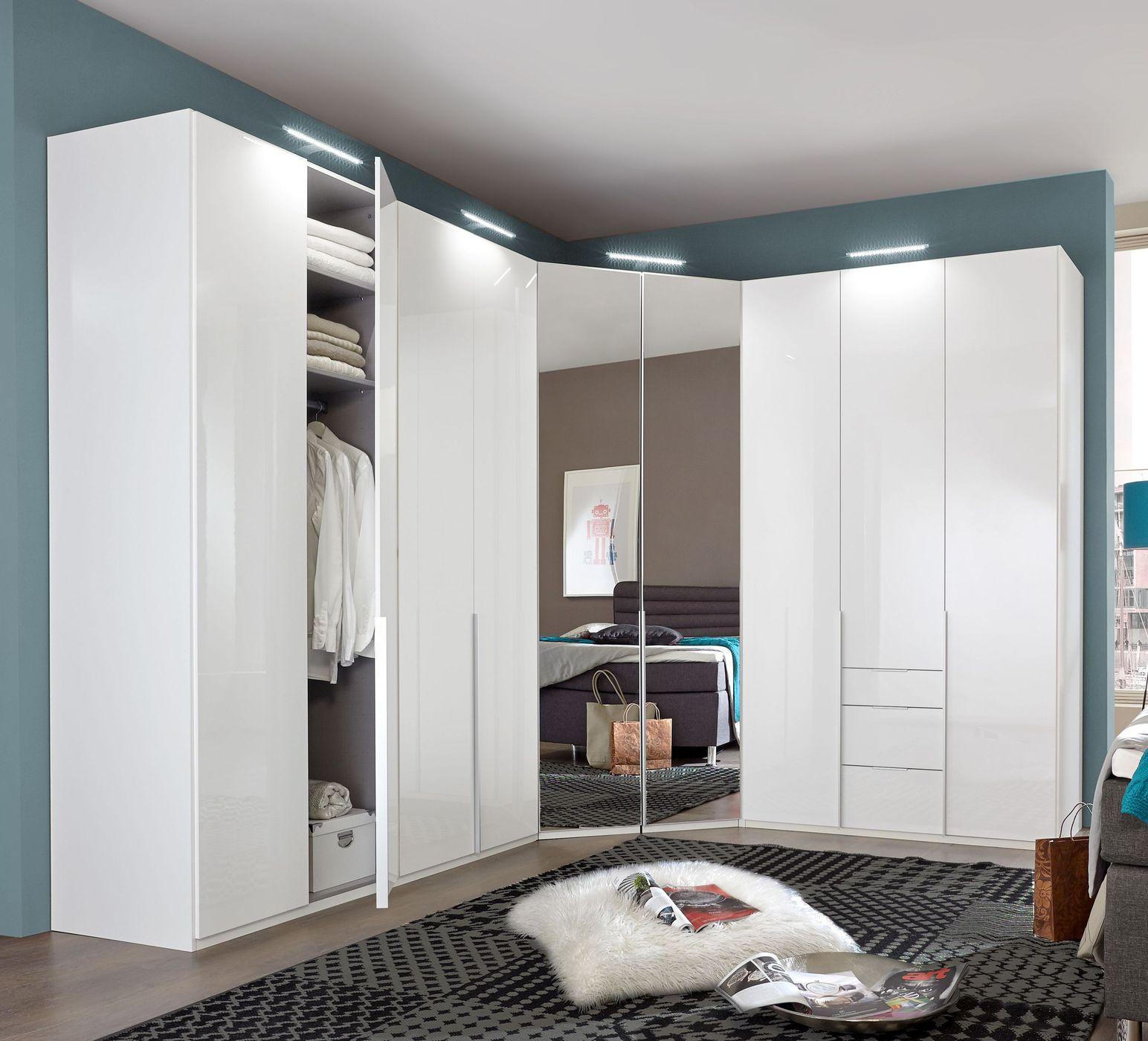 Eckkleiderschrank Weiß Mit Spiegel