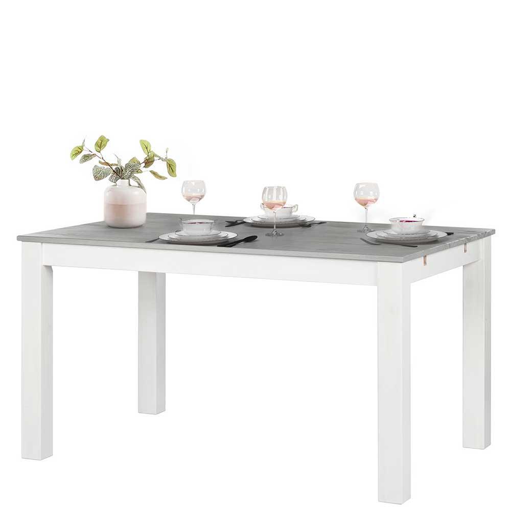 Esstisch Grau Weiß Holz