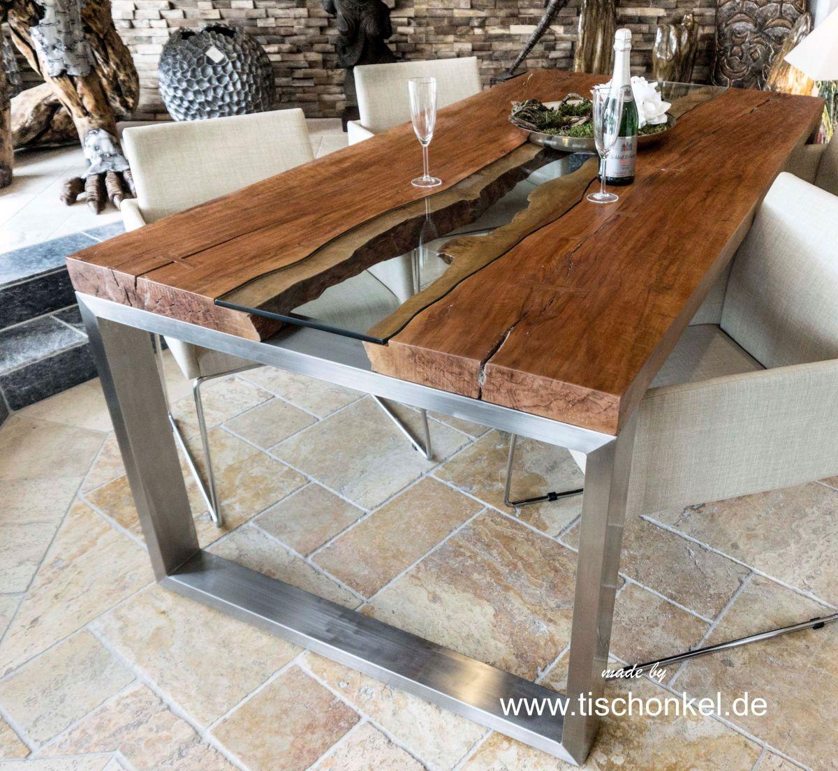 Esstisch Mit Glasplatte Und Holz