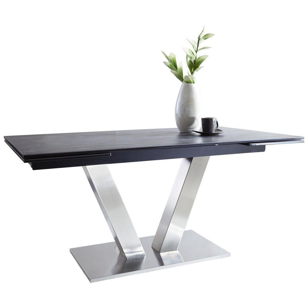 Esstisch Stühle Grau Silber