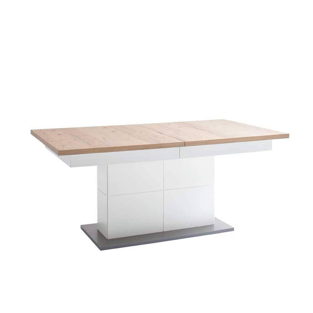 Esstisch Weiß Mit Holzplatte