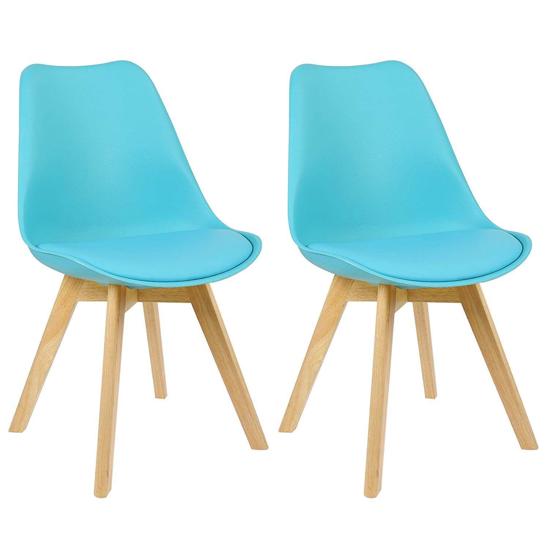 Esszimmerstühle Leder Blau