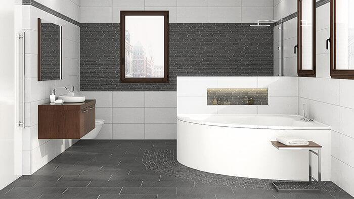Farbgestaltung Bad Fliesen Boden Grau Wand Weiß