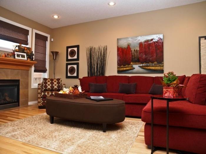 Farbgestaltung Einrichtungstipps Rotes Sofa