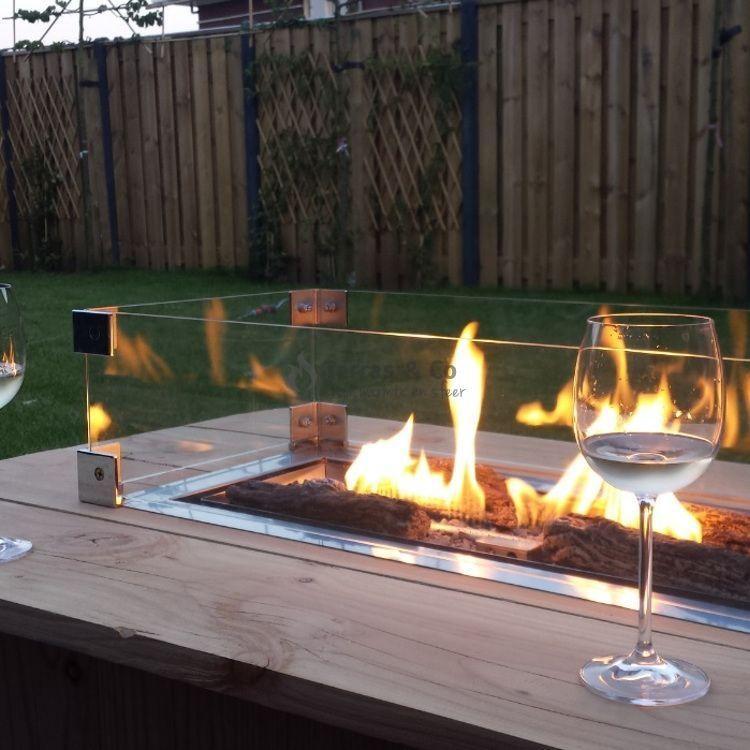 Feuerstelle Terrasse Glas