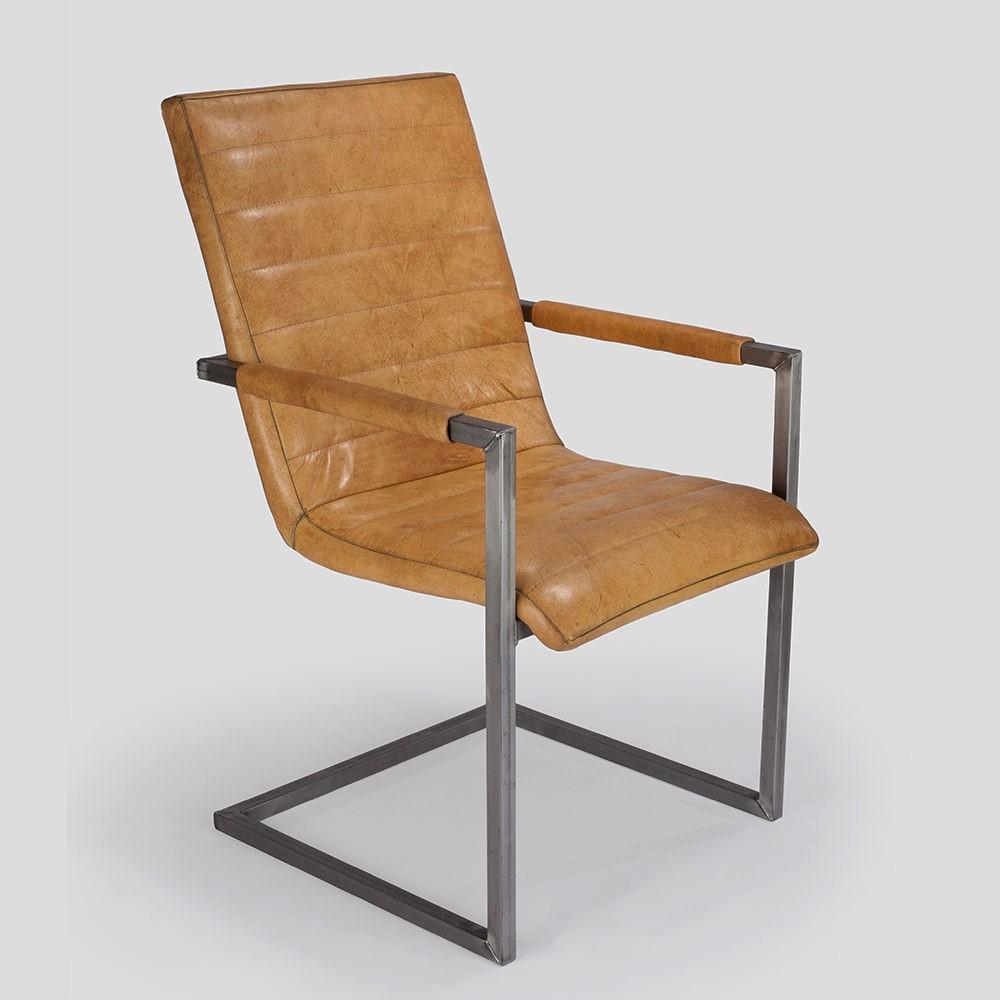 Freischwinger Leder Stuhl