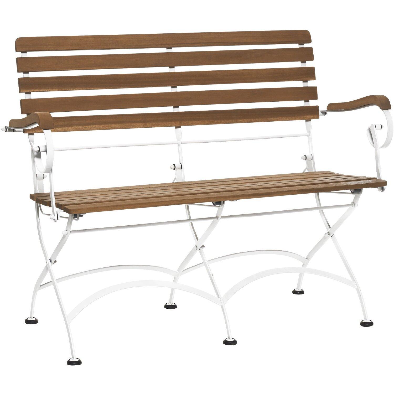 Gartenbank Holz Metall Weiß