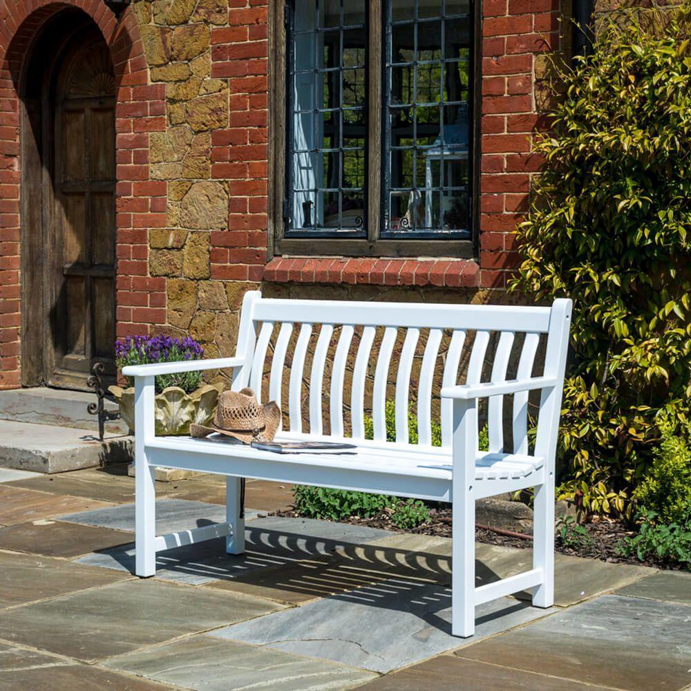Gartenbank Holz Weiß 3 Sitzer