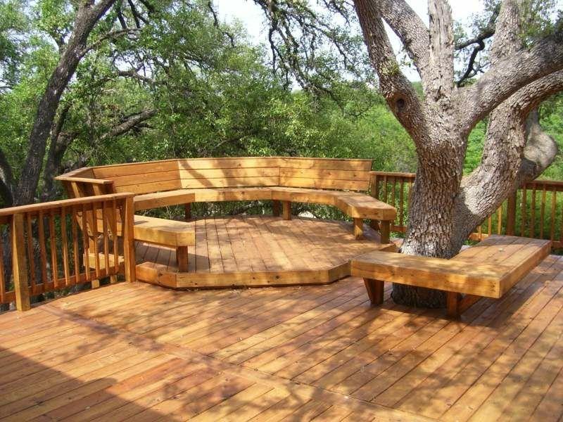 Gartenbänke Holz Rund