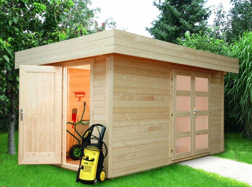 Gartenhaus Flachdach Aufbau